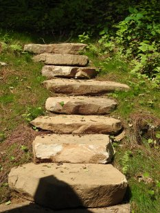 Rock steps to a wooded area behind the house by Gonzalez Landscaping and Home Improvement